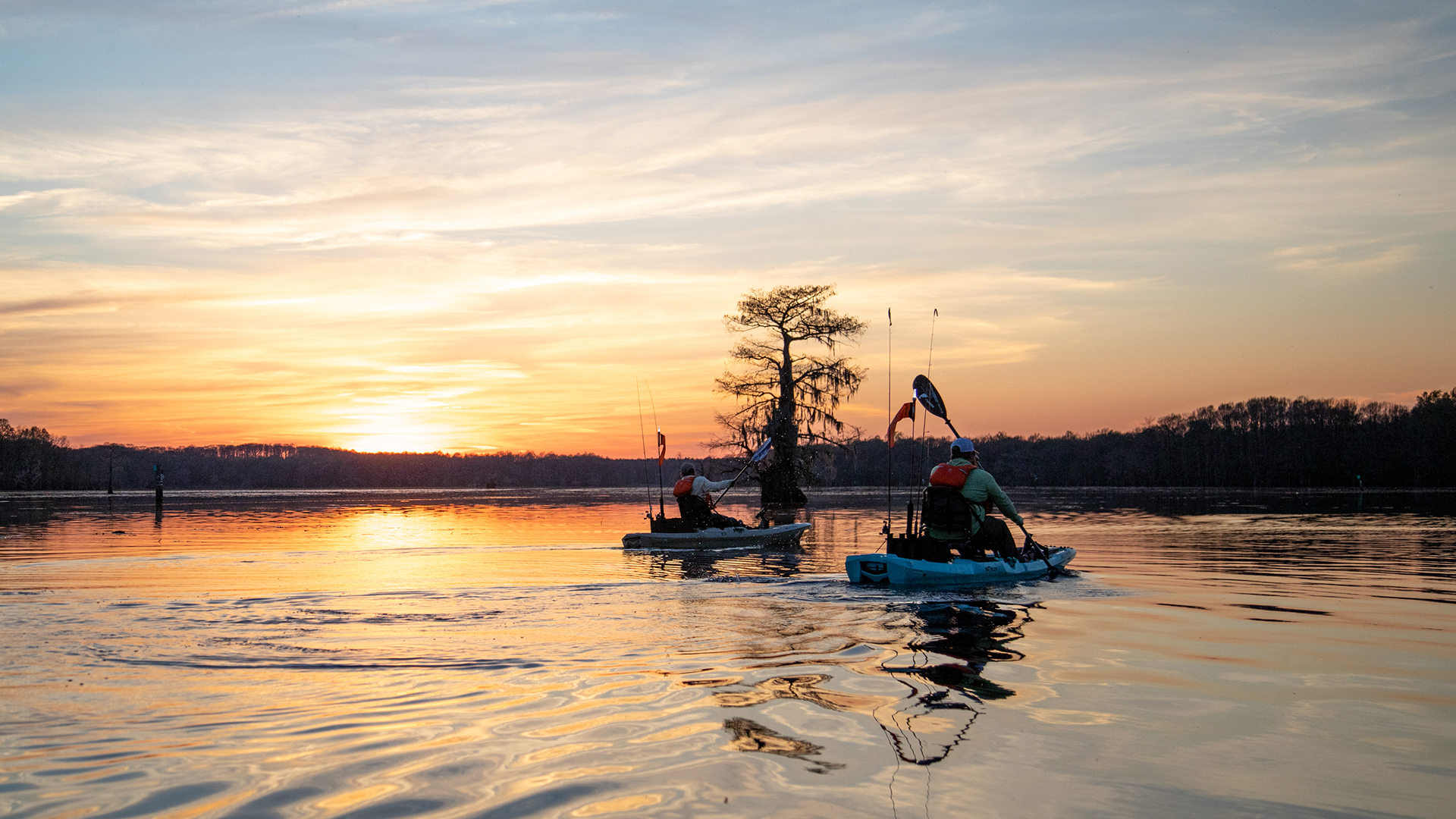 Sunset after kayak fishing Lake Caddo