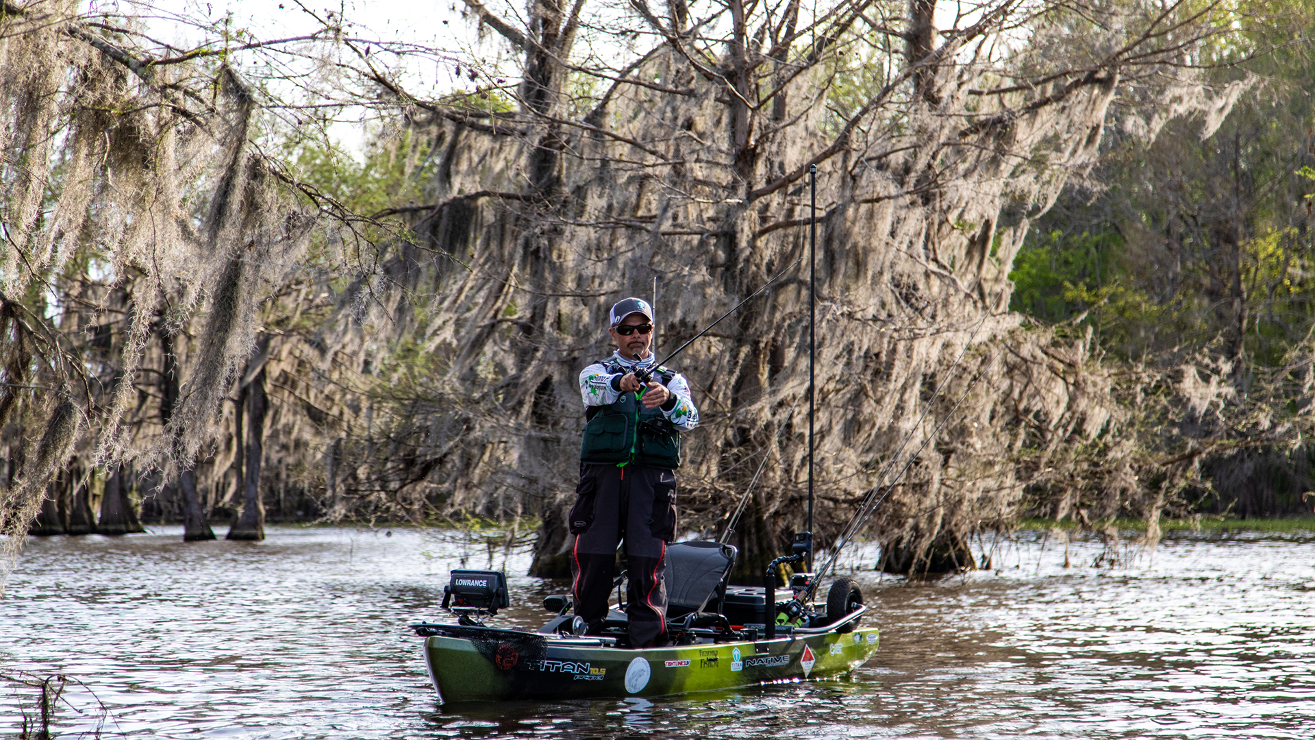 Mike Elsea on Lake Caddo in his Native Titan Fishing Kayak