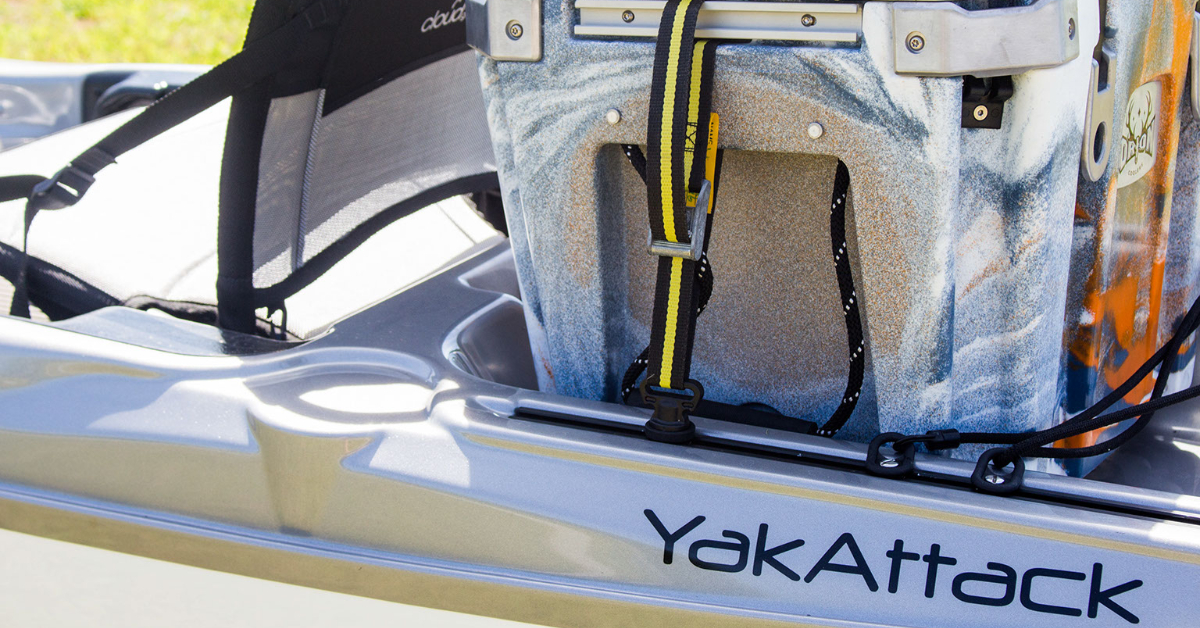 Track mounted tie downs for straps and bungee on kayaks